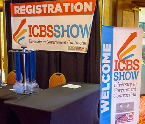 icbs show registration banners next to a table